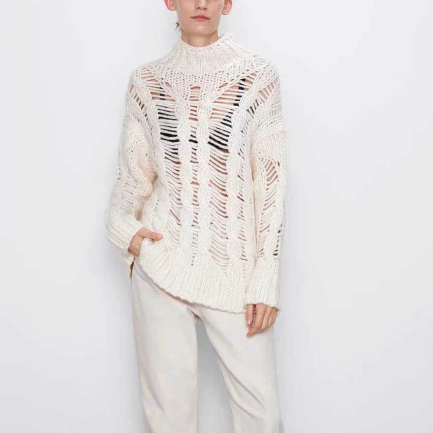 Papan Musim Dingin Fashion Longgar Rajutan Hollow Lubang Delapan Merajut Winding Sweater Wanita See-Through Pullover Kasual Menarik wanita Jumper