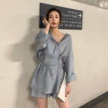 Summer Women pant suits set Lace up two piece set outfits Ice Silk Smooth Casual Solid Color Office lady set AE937(China)