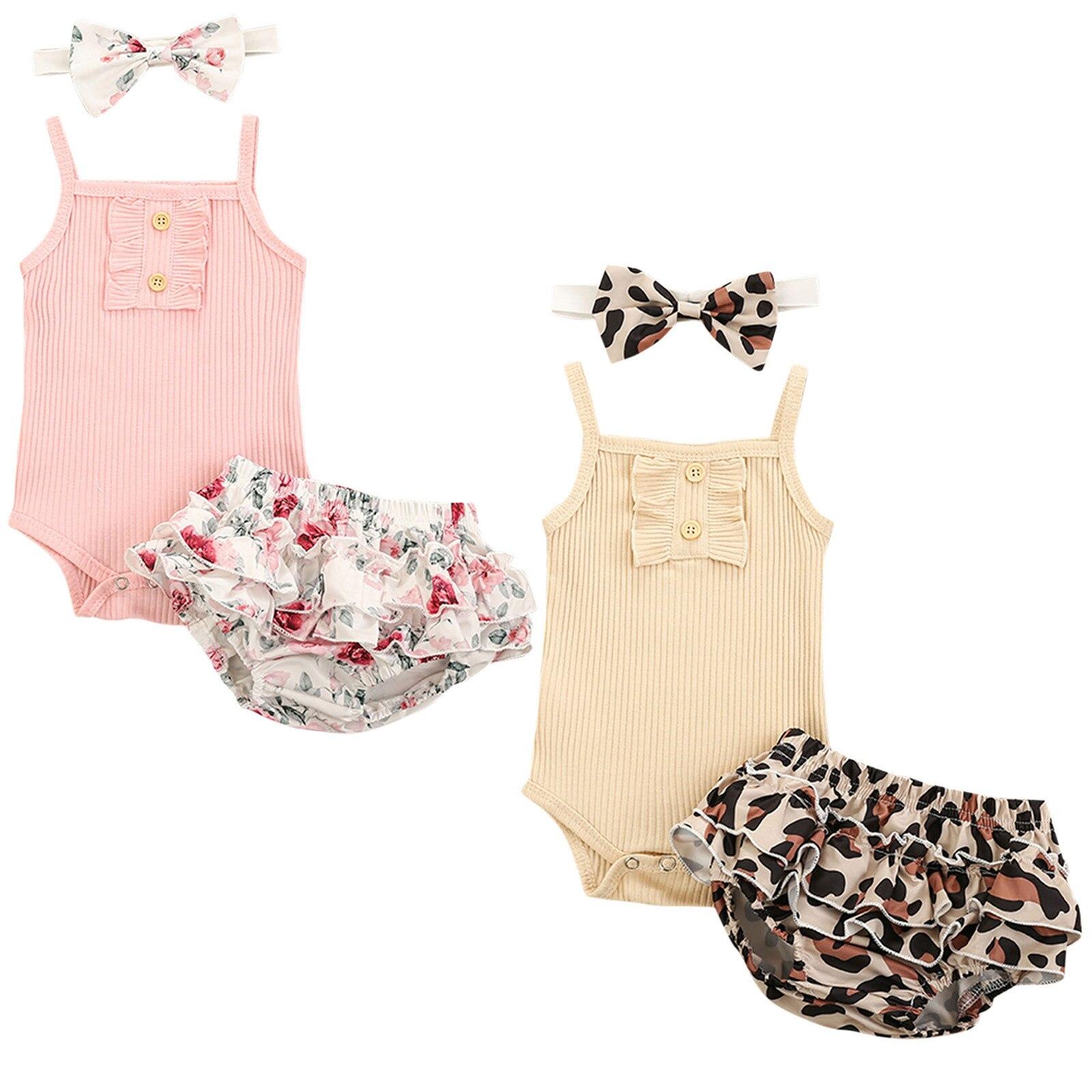 Трикотажные Ребристые комбинезон, комплект для малышей, для маленьких девочек, комплект с оборками с цветочным и леопардовым принтом повяз...
