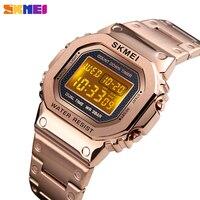 SKMEI Men's watch digital Sport watches luxury stainless steel waterproof mens wristwatch count down alarm clock men bracelet