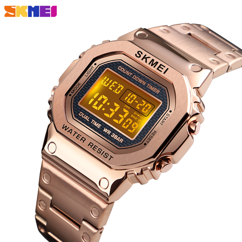 <font><b>SKMEI</b></font> Men's watch digital Sport watches luxury stainless steel waterproof mens wristwatch count down alarm clock men bracelet image
