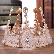 Vintage Crystal Bridal Cake Crown Queen Headdress Hair Accessories For Women Fashionable Handmade Birthday Ornament