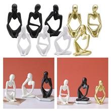 Abstrato pensador escultura artesanato criativo estatueta estante mesa estátuas modernas decoração para casa escritório prateleira personagem decoração