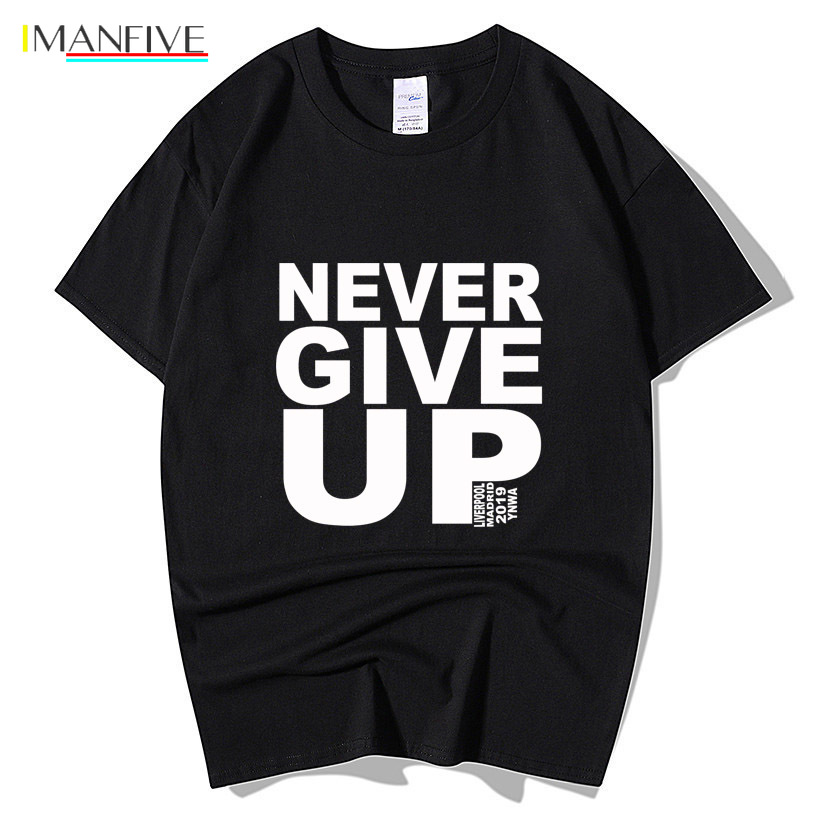 Mo Salah NEVER GIVE UP Adult Kids T Shirt Champions League Madrid 2019 Liverpool T Shirt in T Shirts from Men 39 s Clothing