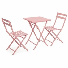 Square Iron art Coffee tables Folding Garden Chairs Outdoor leisure Balcony table with chairs cheap NoEnName_Null Pure color 55*72CM M20725A Minimalist Modern Metal Outdoor Furniture 1 table+2 chairs 55*55*72cm 80*42*45cm