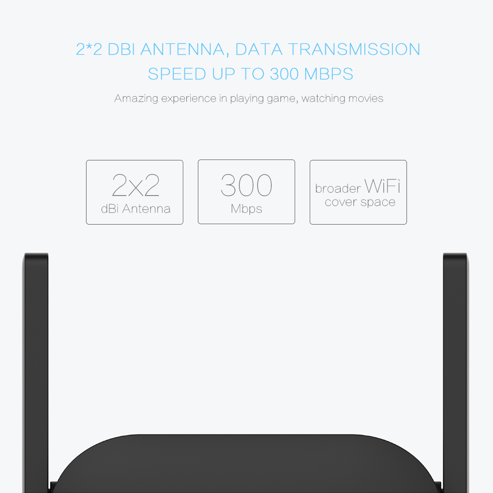 Original Xiaomi WiFi Repeater Pro 300Mbps Mi Amplifier Network Expander Router Extender Roteador 2 Antenna for Router Wi-Fi Home 4