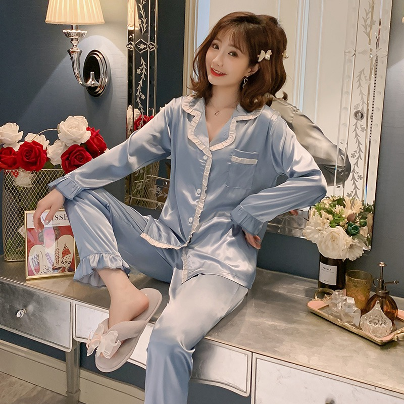2020 Spring Sweet Princess Silk Satin Long Sleeve Pajama Set For Women Sleepwear Suit Outwear Homewear Pijama Mujer Home Clothes
