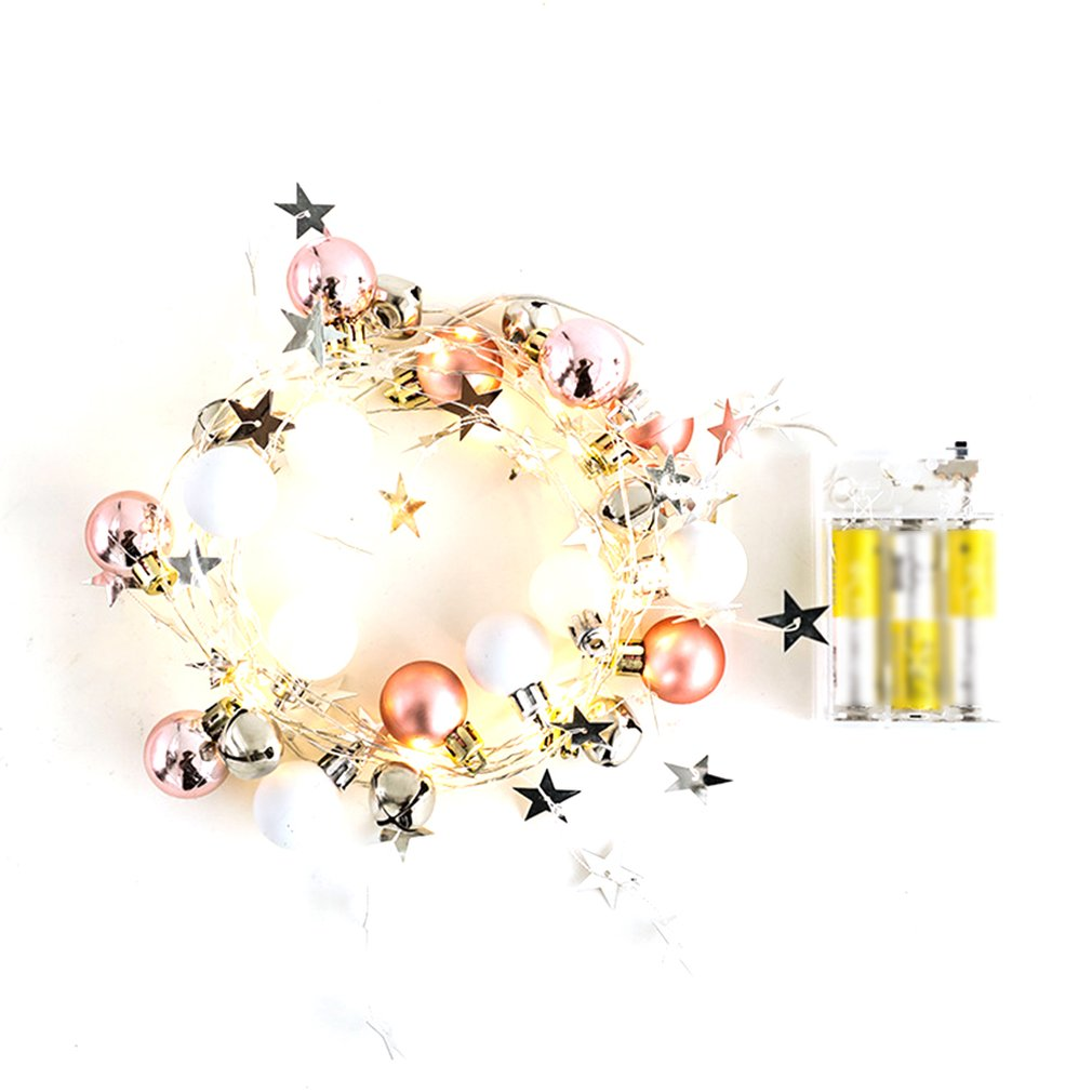New Silver Copper Wire White Christmas Ball Bells String Lights Led String Christmas Wedding Outdoor Decoration Belt
