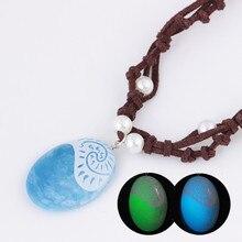 Romance azul pedra luminosa pingente colares polinésia oceano princesa moana corda corrente colar feminino moda jóias