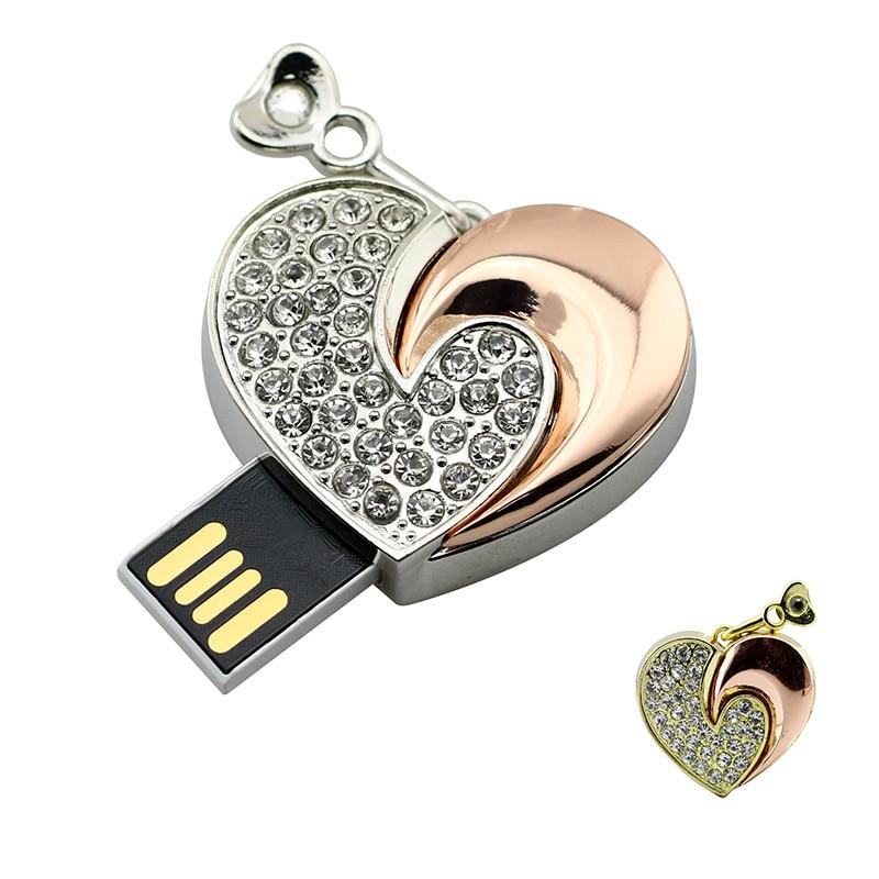 Usb Flash Drive Crystal Rose Gold Heart Memory Stick  4 8 GB 16GB 32GB Pen Drive 2.0 Pendrive 128GB 64GB Cle Usb Key Personalise