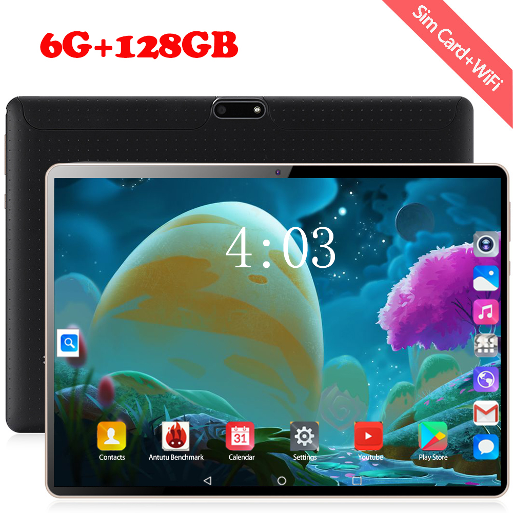 Super Tablet 128G Global 3G WIFI Sea Bluetooth Android 8.0 10.1 Inch Tablet Octa Core 6GB RAM 64GB 128GB ROM 2.5D Screen Tablets