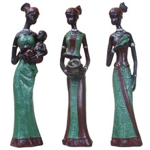 3Pcs/Set African Dolls Resin Exotic Lady Figurines Furnishing Crafts Gifts Living Room Art Home Office Decoration Accessories-Gr(China)