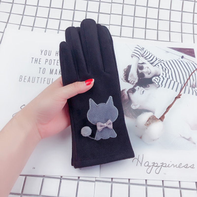 Women Winter Plus Velvet Thick Warm Suede Leather Touch Screen Mittens Female Lovely Cartoon Cat Bear Cycling Driving Gloves D92