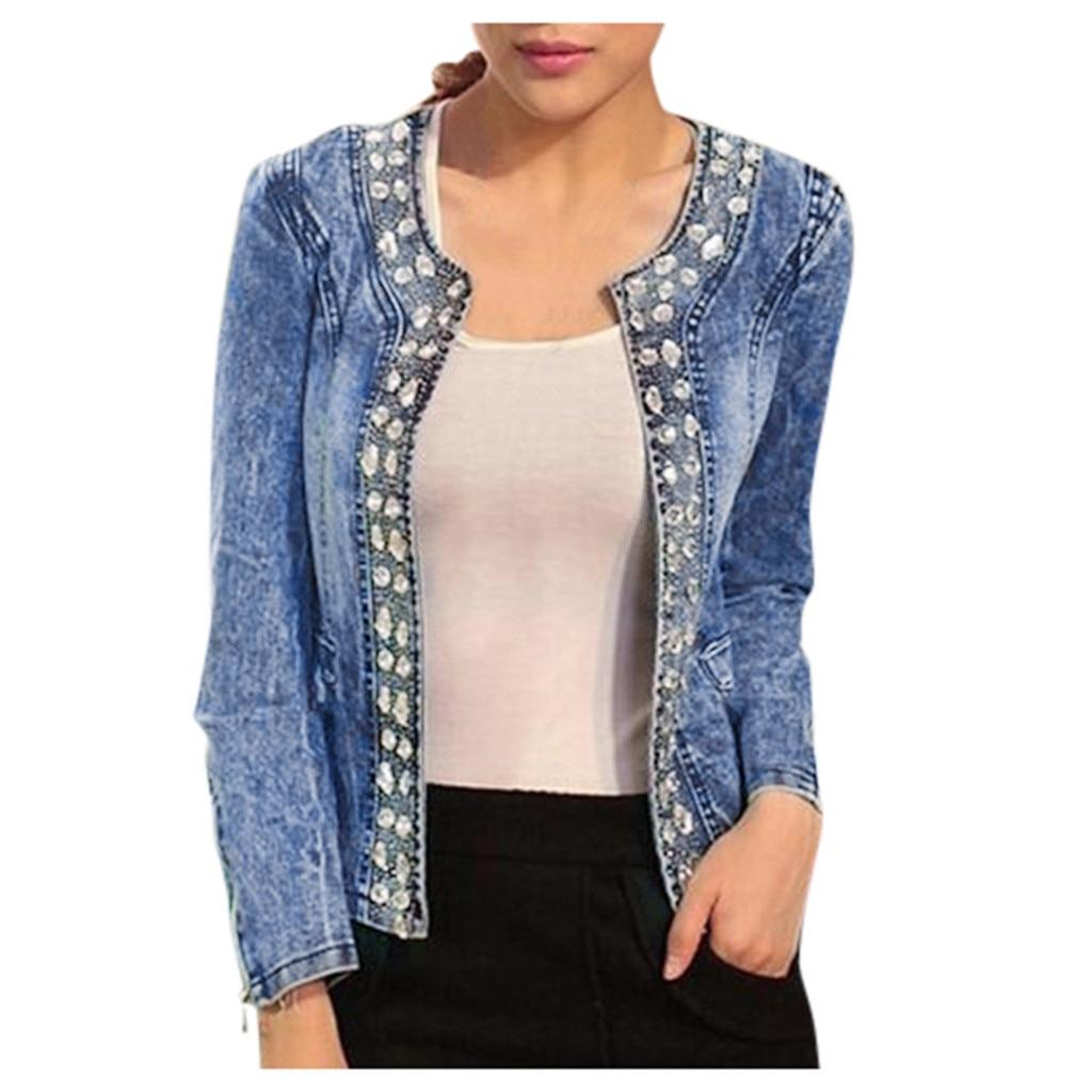 H39b75897ea1d4b6b92623aafe702a8ffG JAYCOSIN Women's Coat New Fashion 2019 Denim Coat Ladies Casual Jacket Outwear Jeans Overcoat female Turn-down Collar jackets