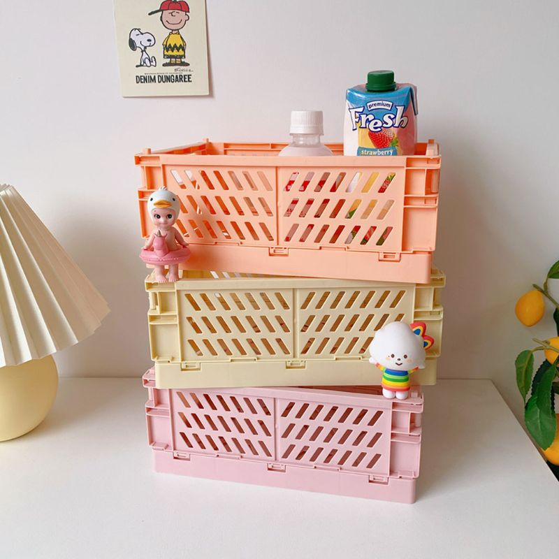Collapsible Crate Plastic Folding Storage Box Basket Utility Cosmetic Container Desktop Holder Home Use