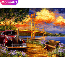 MomoArt Diamond Painting Landscape Diamond Embroidery Car Cross Stitch Bridge Diamond Mosaic Full Square Drill Rhinestone momoart diamond embroidery landscape full drill diamond painting square rhinestone diamond mosaic animal cross stitch