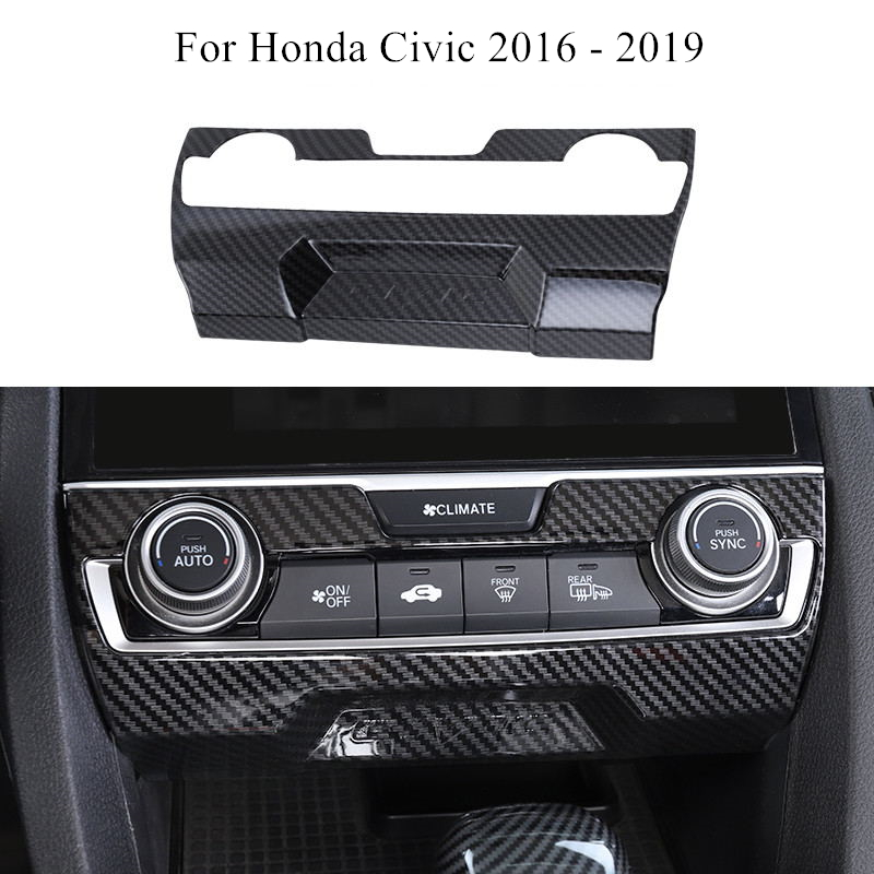 Car Center Console Panel Trim ABS Carbon Fiber Style Interior Decoration Accessories For Honda Civic 2016 2017 2018 2019