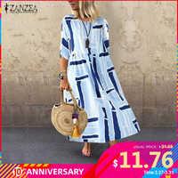 2020 sommer Frauen Lange Tunika Kleid ZANZEA Damen Beiläufige Lose Taschen Vestidos Strand Party Sommerkleid Baumwolle Robe Femme Plus Größe