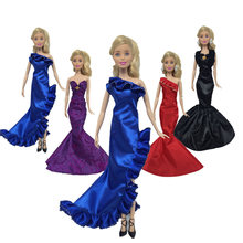 New Handmade One Piece Mermaid Tail Doll Dress Evening Party Full Dress Clothes for Barbie Doll Accessories Baby Doll Toy 30cm handmade dolls party dress set gown skirt colorful fashion clothes for doll mermaid tail dress baby girls pretend toy