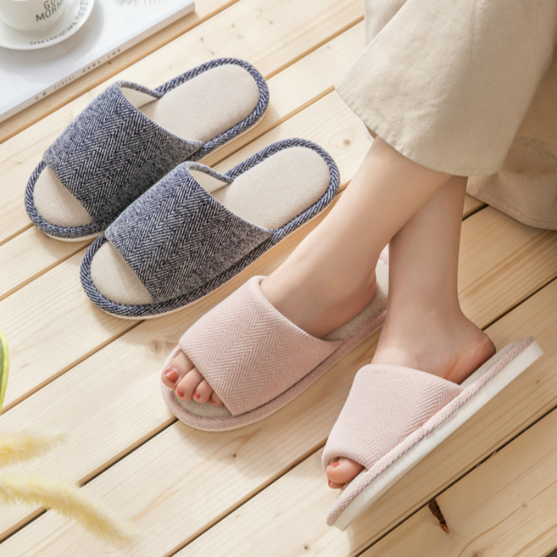 Women Home Slippers 2020 Brand Women Men Floor Cotton Breathable Flax Hemp Bed House Shoes With Soft Non-slip Bottom Ladies Girl