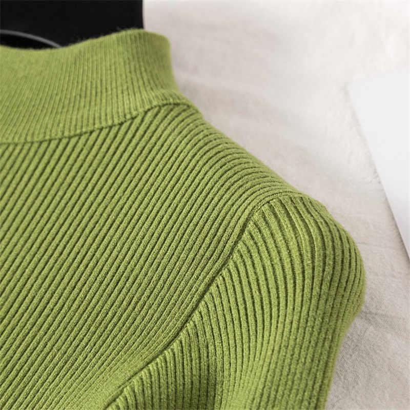 Suéter suave de mujer de invierno de cuello alto de manga larga Pullover de cachemira pura Jersey de punto otoño sólido ceñido Casual superior Pull Femme
