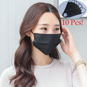 10Pcs/pack Disposable Non Woven Black Face Mask Earloop Anti-Dust Flu Masks Respirator Outdoor Mouth Kitchen hygiene