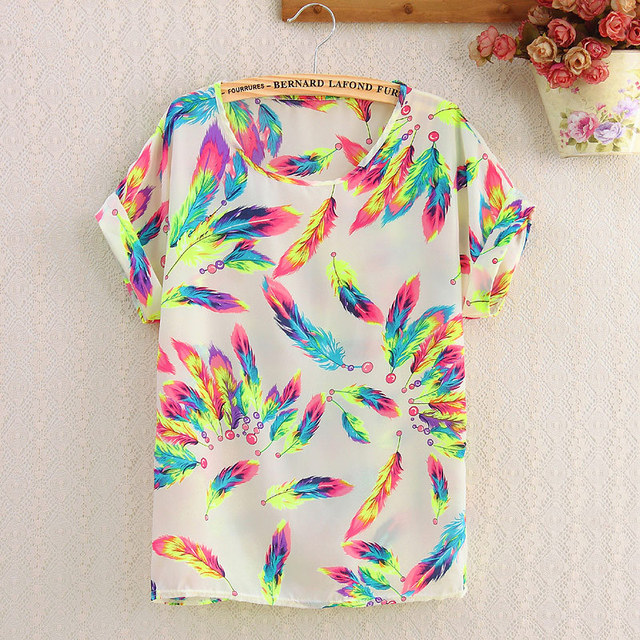 CHSDCSI Summer Blouse Print Tops Women Polyester Stripe  Short Sleeve Casual Shirts Love Blusas Ladies Shirt Chiffon Blouses
