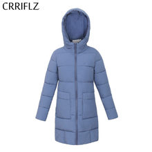 Mode Medium Lange Down Parka Herfst Jas Vrouwen Hooded Jas Slanke Warme Winter Jas Vrouwen CRRIFLZ 2019 Nieuwe Winter Collectie(China)