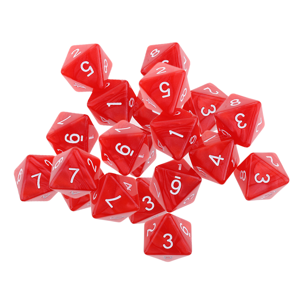 20 Pcs 8 Sided Dice D8 Polyhedral Dice For Party Table Games Red