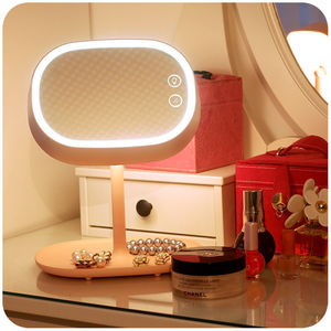 Image 4 - Rechargeable Touch Screen Lighted Makeup Mirror LED Bedside Lamp Table Stand Cosmetic Mirror Night Light