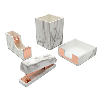 4pcs Office Stationery Set Marble Print Desk Pen Pot, Tape Dispenser, Manual Stapler, Memo Note Holder Rose Gold Office Supplies