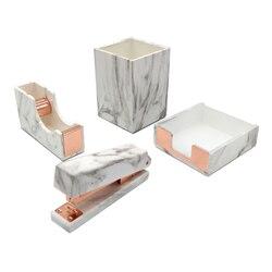 Set de papelería de oficina de 4 Uds., estampado de mármol, pluma de escritorio, dispensador de cinta, grapadora Manual, soporte para notas, oro rosa, suministros de oficina