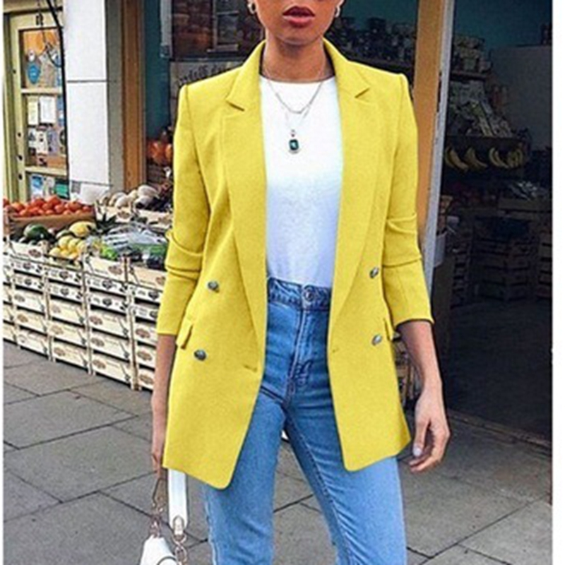 Blazer Womens Suit Jackets 2019 New Long Solid Coats Office Ladies Turn Down Collar Jacket Casual Female Outerwear Suit Blazer