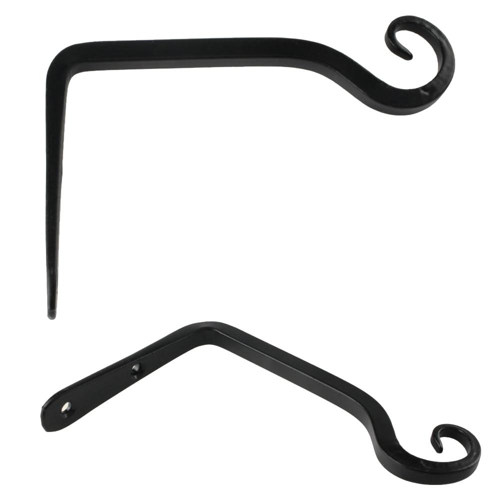 1pc Black Hook Wall Mounted Iron S Shape Pots Hanging Lantern Holder Rod Bracket font b