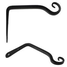 1pc Black Hook Wall Mounted Iron S Shape Pots Hanging Lantern Holder Rod Bracket Home Garden Supplies