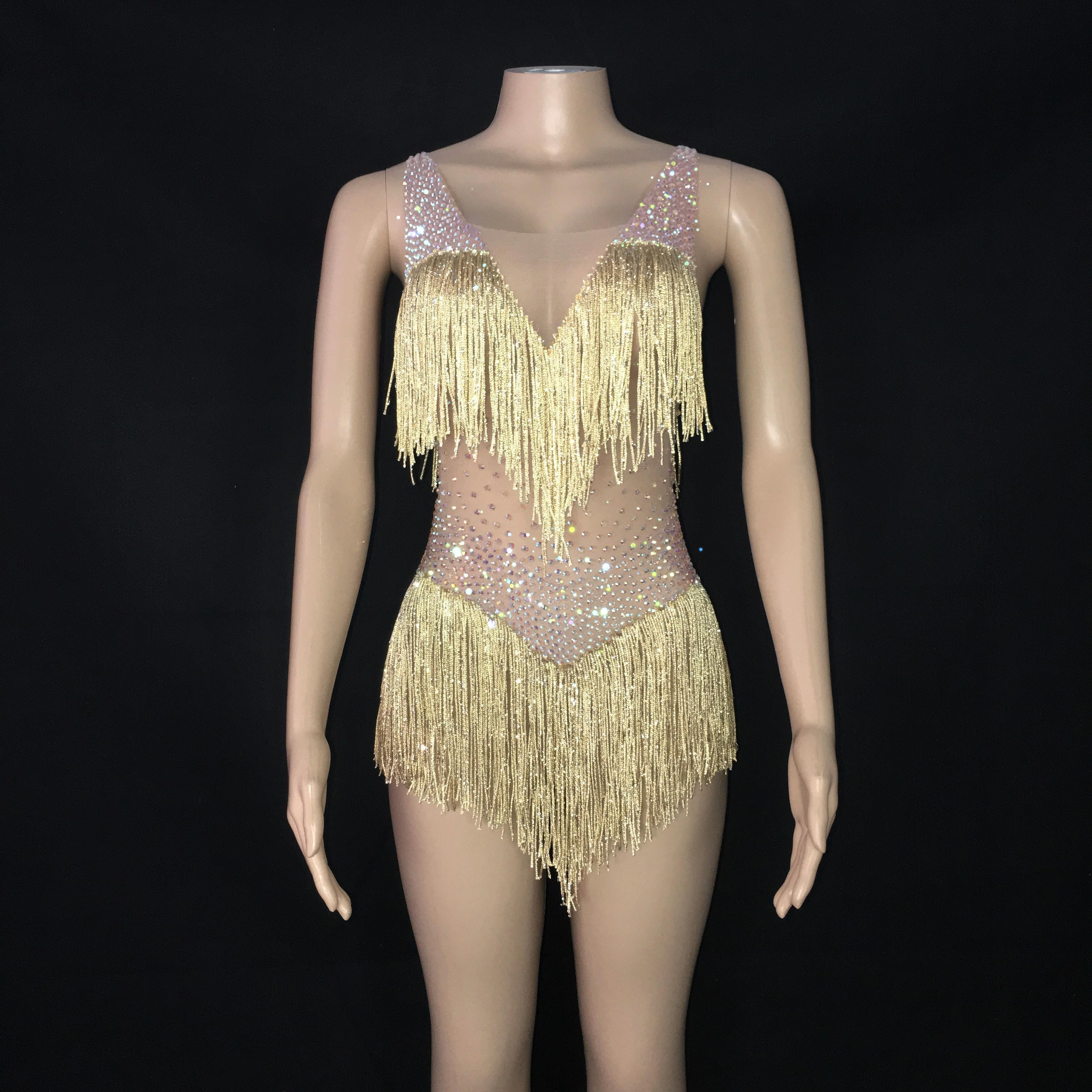 AB Color Stones Transparant  Gold Tassels Bodysuit Birthday Celebrate Dance Outfit Evening Women Singer Prom Fringes Leotard