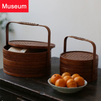 Bamboo Pail Chinese Style Tea Cabinet Accept Can Carry The Gift Box Monolayer Send Gifts Hotel Picnic Basket You Bamboo Weaving