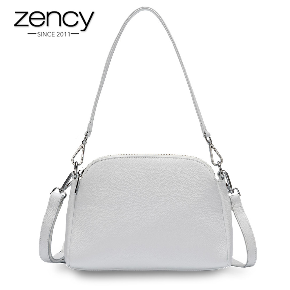 Zency 100% Genuine Leather Fashion Women Shoulder Bag White Shell Bags Two Zippers Closing Elegant Crossbody Purse Black