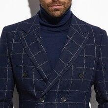 2020 Tweed Jacke Zweireiher Blazer Navy Windowpane Jacke mit Breiten Spitzen Revers Nach Maß Warme Dünne Wolle Mischung Blazer