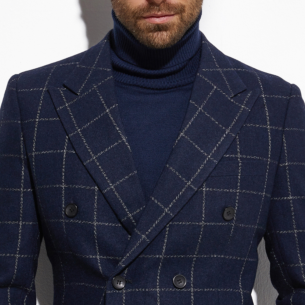 2020 Tweed Jacket Double Breasted Blazer Navy Windowpane Jacket With Wide Peak Lapel Custom Made  Warm Slim Wool Blend Blazer