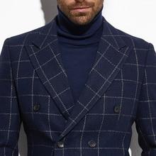 2020 Tweed Jacket Double Breasted Blazer Navy Windowpane Jacket with Wide Peak Lapel Custom Made  Warm Slim Wool Blend Blazer
