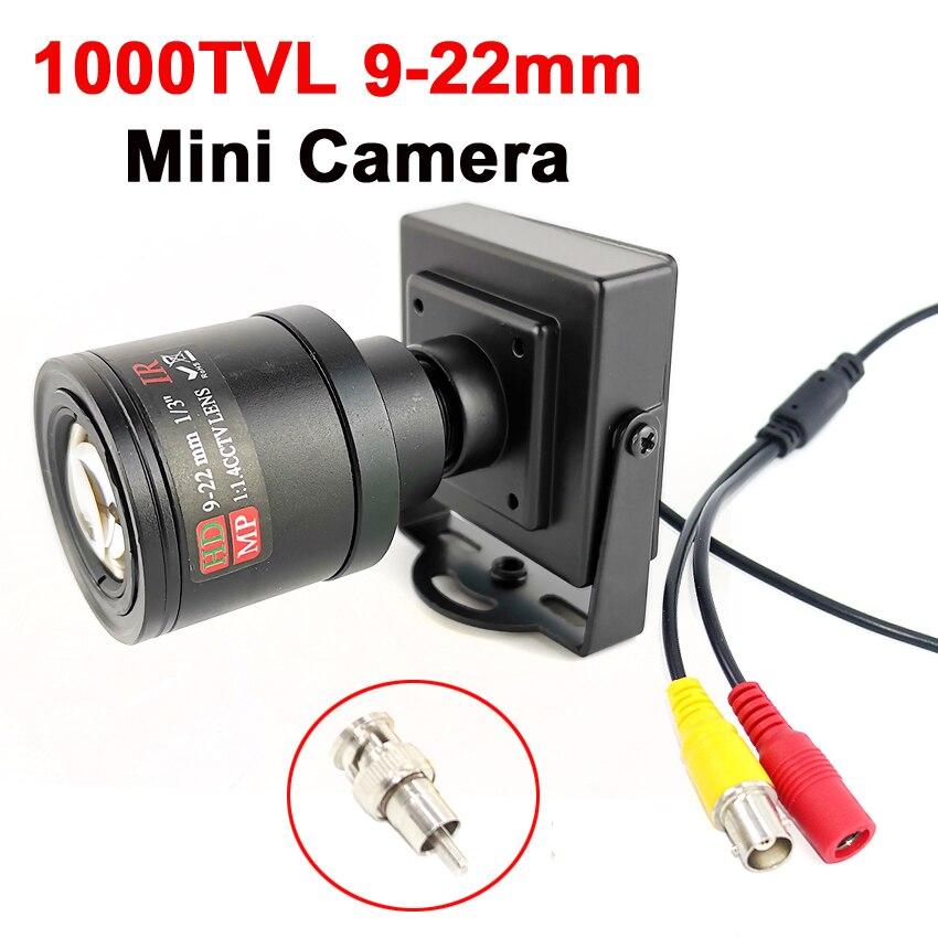 Металлическая мини-камера с переменным фокусным расстоянием 1000TVL/700TVL 9-22 мм, регулируемая ручная линза с адаптером RCA, камера видеонаблюдени...