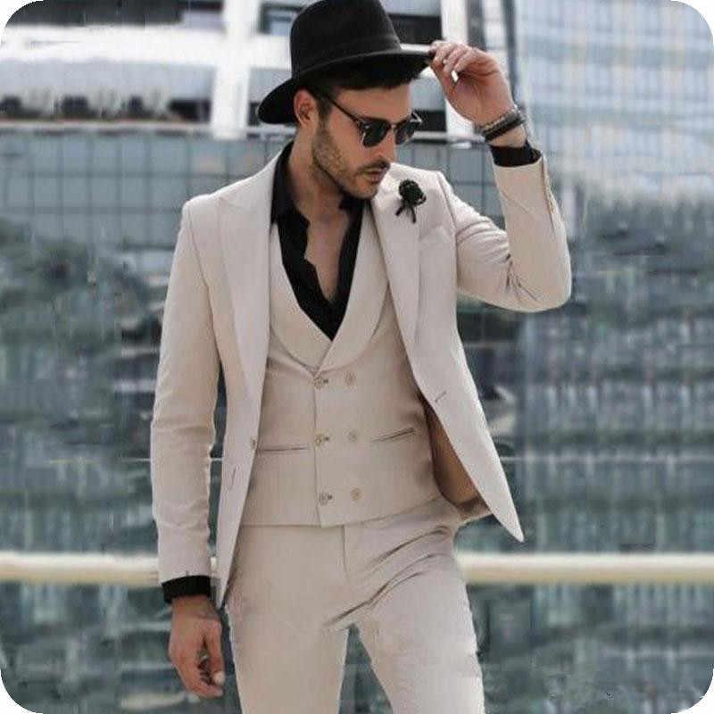 Kaki Bruidegom Smoking Slim Fit Mannen Pakken Italië Piekte Revers Man Blazer Drie Stuk Terno Masculino Kostuum Homme (jas + Broek + Vest)