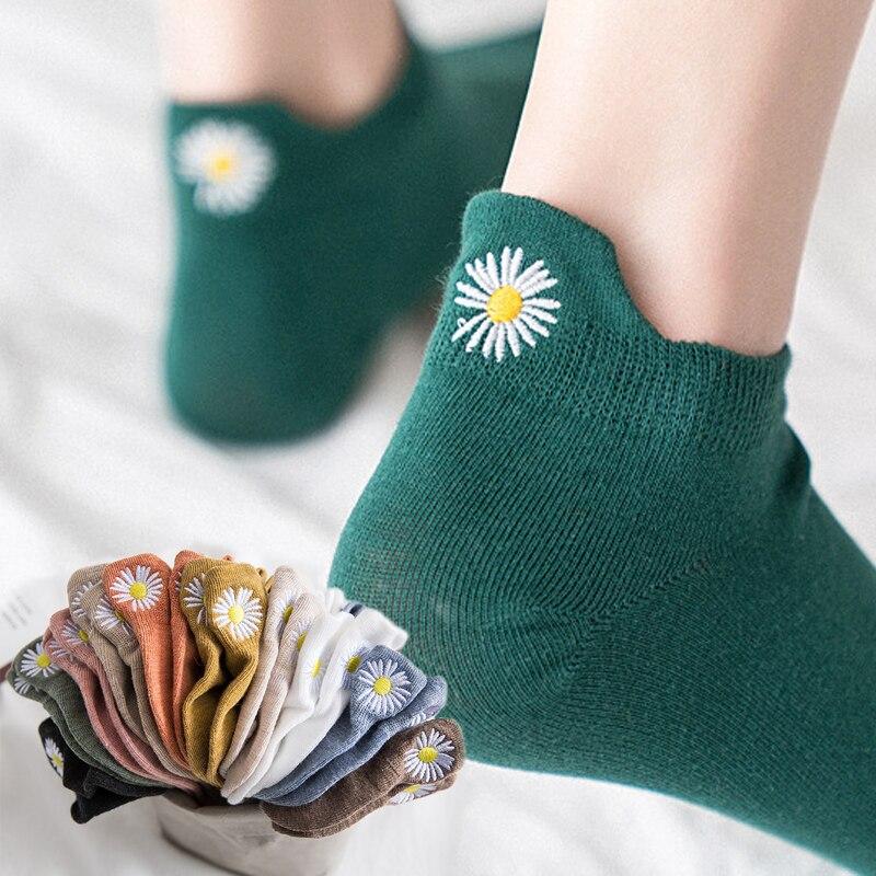 Kawaii Embroidery Daisy Women Socks Cotton Multicolor Chrysanthemum Retro Color Ankle Socks Women 1 Pair Dropship