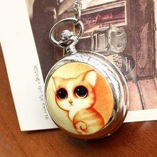 2020 Retro Style Women Pocket Watch Cute Cat Ceramic Chinese Nostalgic Necklace Relogio Feminino