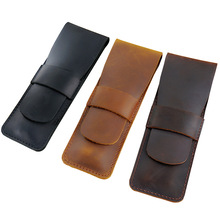 Leather Pencil Bag From Handmade Cowhide Genuine Leather Retro Vintage Style Pen Bag Pencil Case For Journal Travel Gift