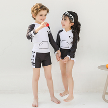 Boys And Girls Print Two pieces Swimwear with Caps Girl Long Sleeved Swimsuit Children Bathing Suit Beachwear for 2-15 Years Old