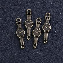 10 teile/los 10*35mm Großhandel Antike Antiken Metall Legierung Kleine Uhr Charme Schmuck Uhr Anhänger