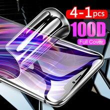 4-1 pces 100d película protetora de hidrogel capa para iphone 12 11 pro 6s 8 7 plus xr x xs max mini protetor de tela cheia filme macio