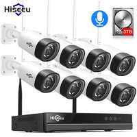 H.265 2MP 8CH Drahtlose Audio CCTV Sicherheit Outdoor IP Kamera System NVR Kit 1080P 1T 3T HDD app Ansicht Hiseeu